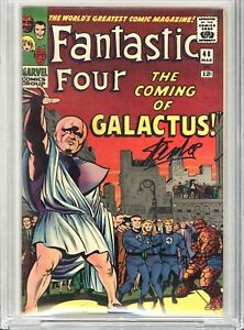 FANTASTIC FOUR 48 9.0 Signed SS Stan Lee 1st SILVER SURFER GALACTUS CBCS Not CGC