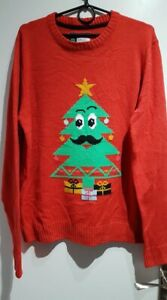Red CHRISTMAS Mens Womens Jumper Xmas Tree Size L Large