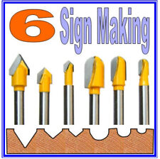"6 pc 1/4"" Shank Lettering and Sign Making  Router Bit Set  sct-888"