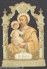 ST. JOSEPH CATHOLIC SHRINE SAINT ORNAMENT  EMBOSSED GERMAN PAPER SCRAP CARD