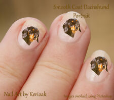 Dachshund Portrait,   24 Unique Designer Dog Nail Art Stickers Decals