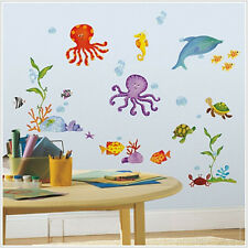 TROPICAL FISH wall sticker 60 decal sea ocean octopus shell turtle crab bathroom