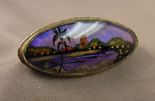 Old Art Deco Brooch Rio Souvenir .800 Silver & Butterfly Wing Eglomise Scene