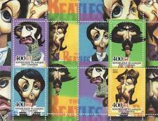 Los Beatles John Lennon Paul Mccartney Caricatura 2004 estampillada sin montar o nunca montada SELLO Sheetlet