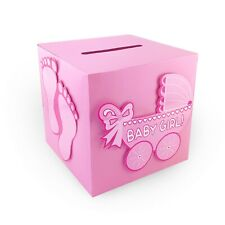 PINK Baby Shower Wishing Well Card Money Box 3D Stick on Designs Keepsakes