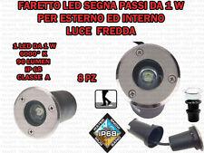 8 FARETTI INCASSO LED 1W ESTERNO/INTERNO SEGNA PASSO CALPESTABILE IP68 GIARDINO