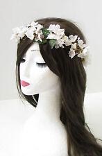 White Cherry Blossom Flower Hair Crown Headband Bridal Festival Garland Boho 194