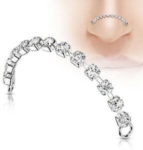 HOTTEST NEW PIERCING CRAZE - Silver Double Nose Piercing Cz Chain Connector