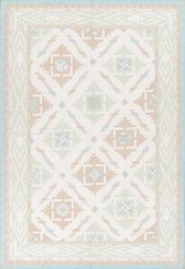 Flat-weave Geometric Reversible White Kilim Oriental Area Rug Wool Carpet 6x9 ft