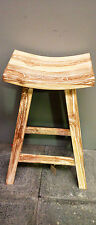Balinese Furniture Wood Recycled Whitewash Teak Tall Bar Stool Chair Seat