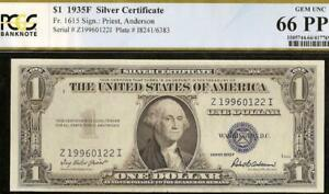 GEM 1935F $1 DOLLAR BILL SILVER CERTIFICATE NOTE PAPER MONEY PCGS 66 PPQ