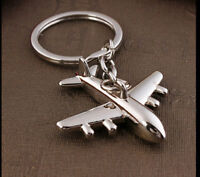 Alloy Silver airplane Keychain 3D Simulation plane Key Ring Gift Family Lover