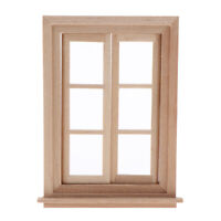 1:12 Scale Dollhouse Miniature Double Working 6 Pane Window - Light Yellow