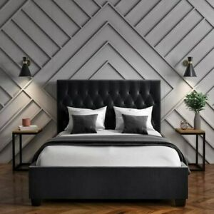 Safina Double Ottoman Bed in Dark Grey with Quilted Button Headboard