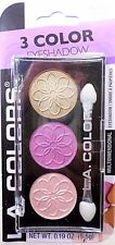 L.A. Colors 3 Color Intense Eyeshadow Pallet WaterLily Champagne Purple Gold New