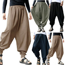 Mens Casual Loose Harem Pants Hippie Dance Yoga Baggy Aladdin Wide Leg Trousers