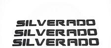 3 x Matte Black SILVERADO Nameplate Emblem Badges 3D Letter GM Chevrolet
