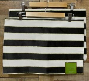 Kate Spade Placemat Augusta Drive Lot of 4 New w/ Tag Black White Stripe Gold