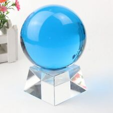 40MM Blue Luminous Quartz Crystal Sphere Ball Glow In The Dark Stone With Base