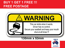 THIS CAR SKIDS FUNNY WARNING STICKER VINYL DECAL POPULAR STICKER