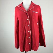Soma Intimates M Medium Red Sleep Shirt White Piping Chest Pocket Long Sleeve
