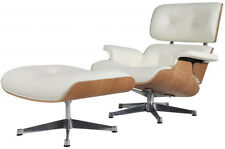 eMod Eames Style Lounge Chair & Ottoman Aniline Leather White Natural Silver