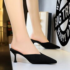 Women Kittend Sandals Pointed Toe Slingback High Heels Slip On Slipper Shoes New