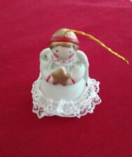 Jolly Jingles Hand Painted Porcelain Bisque Collector Bell Ornament Angel in box