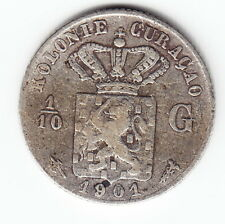 CURACAO 1/10 Gulden 1901 KM36 Ag640 Wilhelmina 1yr type Average Mtg.300,000 RARE