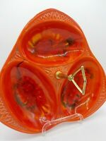 Vtg Mid Century Wild Orange California Pottery Tidbit Serving Tray Triple Bowl