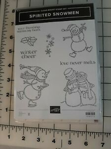 Stampin Up SPIRITED SNOWMEN 8 Pcs Stamp Set Retired 148072 Christmas