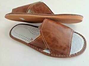 Mens  Slippers Sandals Sliders Shoes 100% Genuine Leather