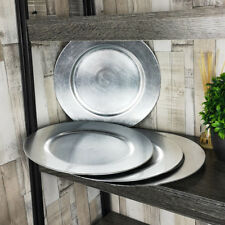 Set Of 6 Silver Effect Charger Plates Round Table Placemats Centerpieces Decor