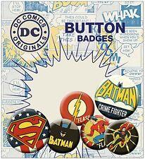 DC Comics pack of 6 round pin badges incl. Batman Crimefighter    (ge)
