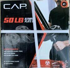 """New CAP 50 lb Olympic Weight Plate Set (4)10 lb & (2) 5 lb Plates (Fits 2"""" Bars)"""
