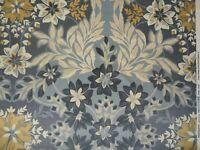 "MONSOON ""JUDE VELVET"" 2.5 metres Upholstery curtain fabric GREY/BLUE/OCHRE"