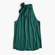 New J CREW Green TIE NECK TOP Sz 4 Tall Style H8212
