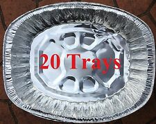20 Large Oval Aluminum Foil Trays BBQ Disposable Roasting takeaway Oven Baking