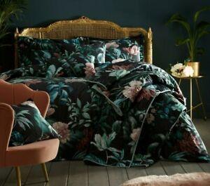 Heligan Luxury Printed Velvet Jungle Palm Leaves Design Duvet Cover Sets,