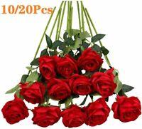 10/20Pcs Artificial Flowers Silk Roses Fake Bridal Wedding Party Bouquet Decor