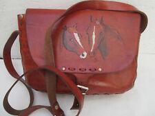 -AUTHENTIQUE grand sac à main  type Hippy cuir TBEG  vintage   bag 60's
