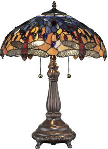 Tiffany Style Table Lamp Stained Glass Dragonfly Handcrafted Vintage Light Shade