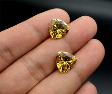 2 PCS EXQUISITE GEMS UNHEATED YELLOW SAPPHIRE TRIANGLE AAAA+ LOOSE GEMSTONES