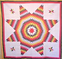1880 MENNONITE STAR QUILT HAND PIECED AND HAND QUILTED CORNER STARS UNUSED