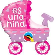 """Qualatex Es Un Nino Cochecito de bebe Rosado 14"""" Globos de relleno de aire x 2"""