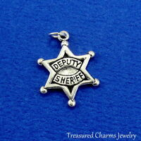 Fine Charms Sterling Silver 23x17mm Deputy Sheriff Star Badge