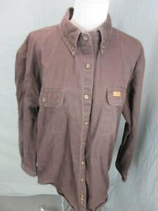 Carhartt Size L Tall Mens Brown 100% Cotton Long Sleeve Button-Down Shirt T466