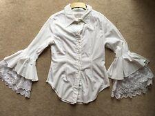Vintage Alberto Makali Designer Blouse White Shirt Amazing Sleeves Size 10