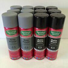 SATIN BLACK SPRAY PAINT 500ML  X 6 & GREY PRIMER 500ML X 6
