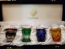 Faberge Na Zdorovye Vodka Set 4 Shot Glasses Multicolor Crystal (Unused)